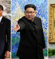 Arkivbilder: Gaddafi med Obama år 2009, Kim Jong-Un, Donald Trump. TT