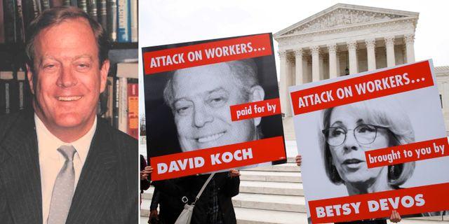 David Koch, årtal okänt/protestdemonstration mot Koch och den republikanska utbildningsministern Betsy DeVos. TT