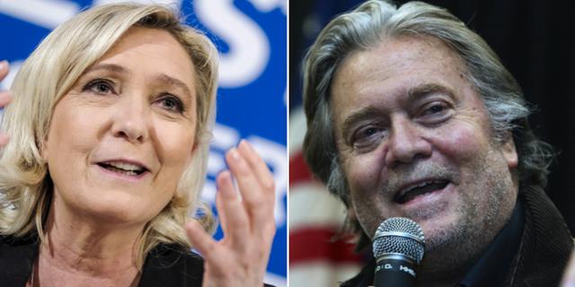 Marine Le Pen och Steve Bannon.  TT
