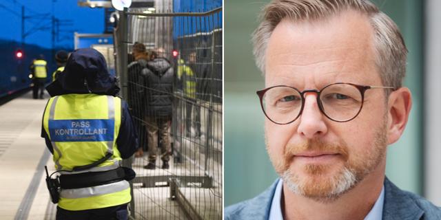 Gränskontroll, samt bild på Mikael Damberg (S). Arkivbilder. TT