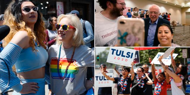 Kirsten Gillibrand, Bernie Sanders tar selfies med supportrar, anhängare av Tulsi Gabbard TT