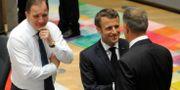 Statsminister Stefan Löfven, Frankrikes president Emmanuel Macron och Rumäniens president Klaus Werner.  STRINGER / TT NYHETSBYRÅN