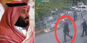 Arkivbilder. Mohammed bin Salman (t v), övervakningsbild från när Jamal Khashoggi kommer in på konsulatet (t h). TT