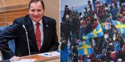 Stefan Löfven och publik under VM i Åre.  Bildbyrån.