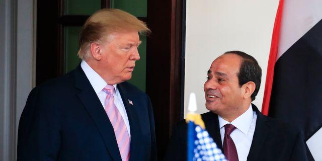 Egyptens president Abd al-Fattah al-Sisi och USA:s president Donald Trump.  Manuel Balce Ceneta / TT NYHETSBYRÅN