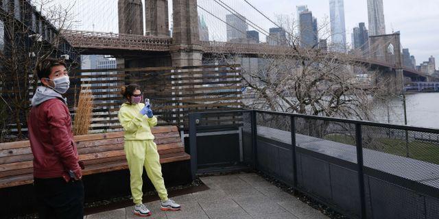 Människor i New York. SPENCER PLATT / TT NYHETSBYRÅN