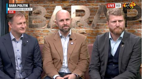 Carl Schlyter, Mattias Bjärnemalm och Fredrik Sander. Expressen tv