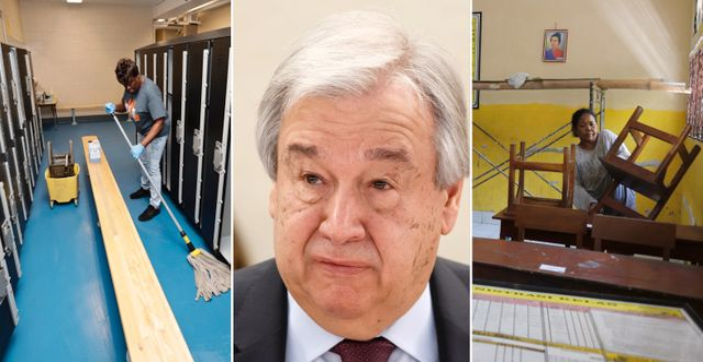 Stängd skola i Ohio, USA/António Guterres/Skolstängning i Indonesien TT/AP
