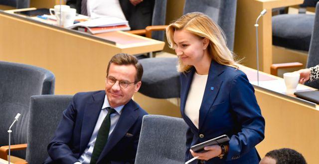 Ulf Kristersson (M) och Ebba Busch (KD). Henrik Montgomery/TT / TT NYHETSBYRÅN