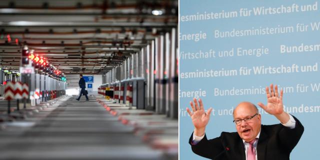 En man går genom ett tomt garage på flygplatsen i Frankfurt / Peter Altmaier. TT