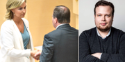 Ebba Busch Thor (KD) och Stefan Löfven (S) t.v. Martin Hallander (KDU) t.h. TT/KDU