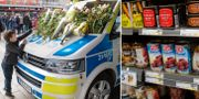 Pojke visar sin uppskattning efter terrorattacken i Stockholm och konserver i en matbutik. TT