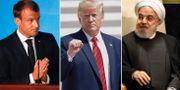 Macron, Trump och Rouhani. Arkivbilder. TT