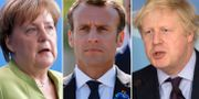 Angela Merkel/Emmanuel Macron/Boris Johnson. TT
