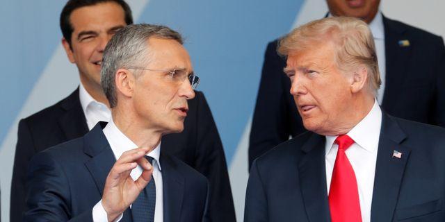 Nato-chefen Jens Stoltenberg och president Donald Trump. Yves Herman / TT NYHETSBYRÅN