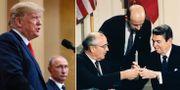 Donald Trump och Vladimir Putin / Michail Gorbatjov och Ronald Reagan när INF-avtalet slöts.  TT