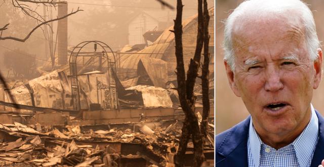 Förstörelse efter bränderna/Joe Biden.  TT