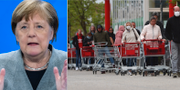 Angela Merkel och kö till butik i München.  TT