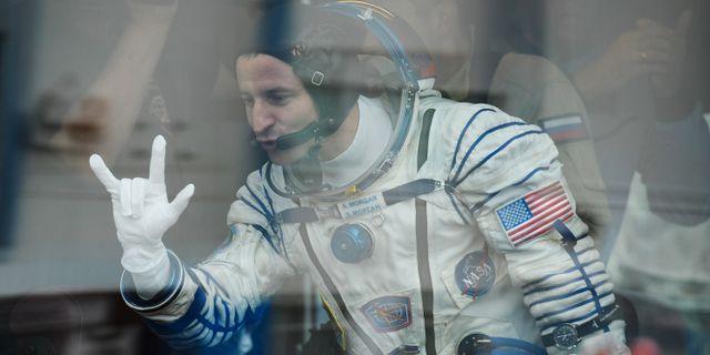 NASA-astronauten Andrew Morgan inför uppskjutandet av Sojuz-kapseln i Kazakhstan 20 juli.  KIRILL KUDRYAVTSEV / AFP