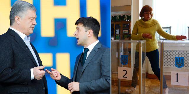 Petro Porosjenko och Volodymyr Zelenskij / förberedelser i en vallokal.  TT