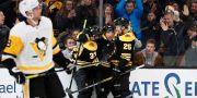 Boston Bruins Brad Marchand, Patrice Bergeron och Brandon Carlo. WINSLOW TOWNSON / BILDBYRÅN