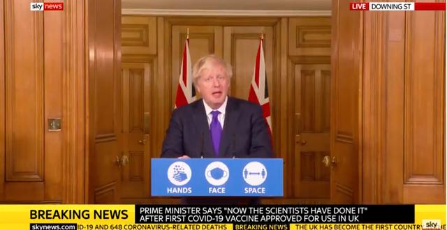 Boris Johnson.  Skärmdump/Sky News
