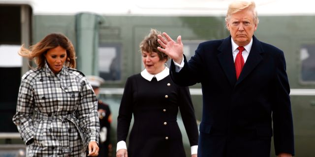Trump med hustrun Melania idag. Jacquelyn Martin / TT NYHETSBYRÅN/ NTB Scanpix