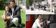 AFP-journalisten Shah Marai som dödades, med en av sina söner/bild under dådet i Kabul/en man vars son, en reporter, dödats får hjälp av mediekollegor. TT