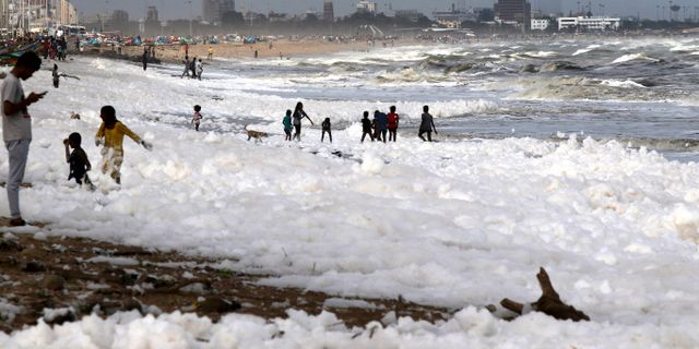 Marina Beach i Chennai, Indien.  R.Parthibhan / TT NYHETSBYRÅN
