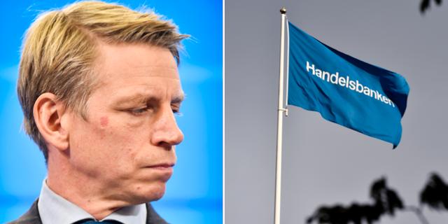 Finansmarknadsminister Per Bolund (MP) och en Handelsbankenflagga.  TT
