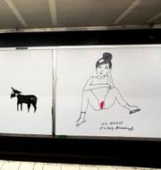 Liv Strömquists konst vid tunnelbanestationen Slussen i Stockholm. Pressbild SL