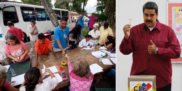 Folk röstar i Venezuela/Nicolás Maduro lägger sin röst. TT