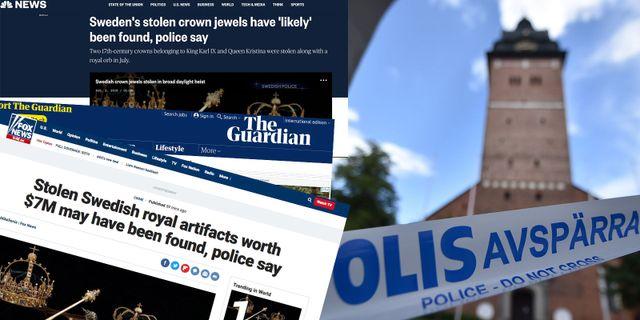 Internationella medier rapporterar om stölden.  Skärmavbilder/TT
