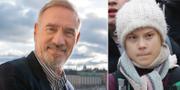 Roland Emmerich och Greta Thunberg. TT
