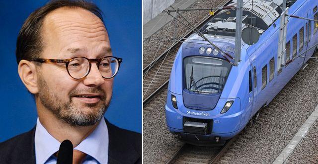 Infrastrukturminister Tomas Eneroth (S) förvånas över M-partistyrelsens förslag om trängselskatt för tåg. TT