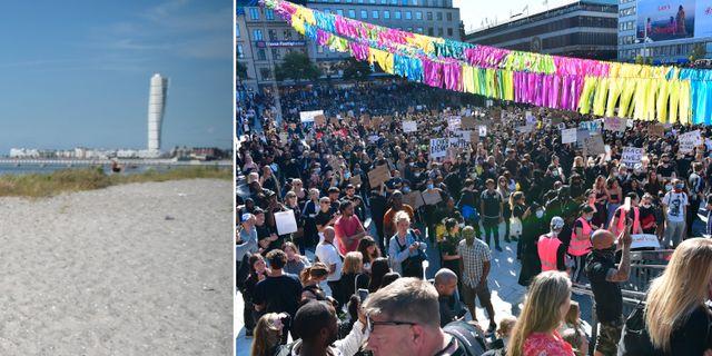 Ribersborgsstranden/bild från demonstrationen i Stockholm.  TT