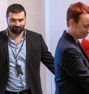 Vänsterpartiets Ali Esbati och Christina Höj Larsen efter mötet med Moderaterna. Henrik Montgomery/TT