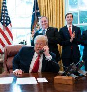 USA:s president Donald Trump i ovala rummet under telefonmötet med ländernas ledare.  Alex Brandon / TT NYHETSBYRÅN