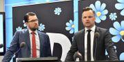 Partiledare Jimmie Åkesson och Adam Marttinen, rättspolitisk talesperson.  Jonas Ekströmer/TT / TT NYHETSBYRÅN
