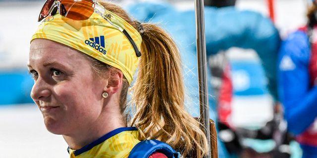 Mona Brorsson efter dagens mixedstafett. Anders Wiklund/TT / TT NYHETSBYRÅN