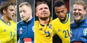Christoffer Nyman, John Guidetti, Marcus Berg, Isak Kiese Thelin och Ola Toivonen. TT
