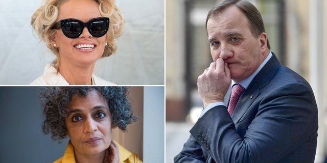 Pamela Anderson/Arundhati Roy/Stefan Löfven. TT