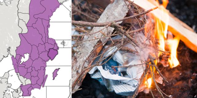 Gräsbrandsvarningar/arkivbild eld. Skärmdump SMHI/TT