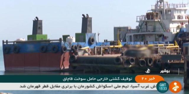 Bild på det beslagtagna fartyget från revolutionsgardets tv-kanal Irinn. - / IRINN