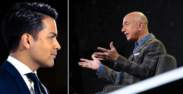 Philip Botström och Amazons vd Jeff Bezos. TT