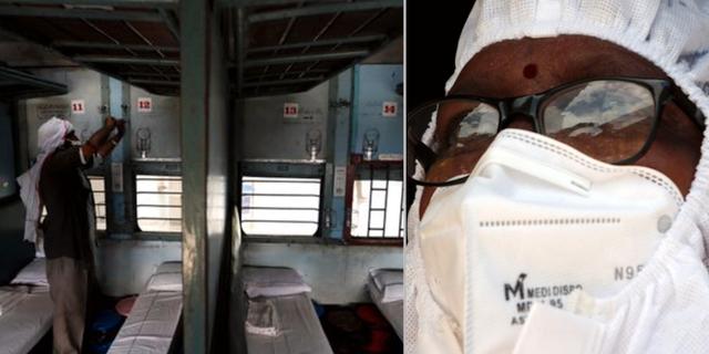 Tågvagnar byggs om för vård av covidpatienter/sjukvårdare i Indien. Manish Swarup / TT NYHETSBYRÅN