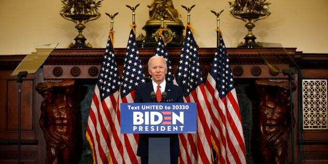 Joe Biden under talet. Matt Rourke / TT NYHETSBYRÅN