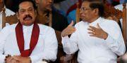 Rajapaksa och Sirisena. Dinuka Liyanawatte / TT NYHETSBYRÅN