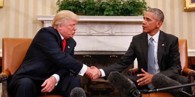 Donald Trump och Barack Obama i Ovala rummet 2016. Pablo Martinez Monsivais / TT NYHETSBYRÅN