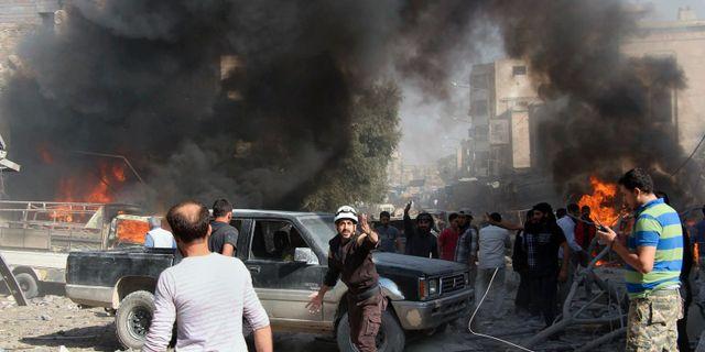 Förstörelse vid en marknad i Idlib 2017. Arkivbild. TT / NTB Scanpix